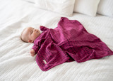 Organic Swaddling Blanket in Magenta Letters, Lifestyle