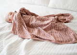 Organic Swaddling Blanket in Mauve Letters, Lifestyle