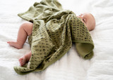 Organic Swaddling Blanket in Sage Letters, Lifestyle