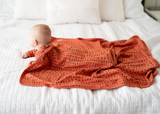 Organic Swaddling Blanket in Maple Letters, Lifestyle