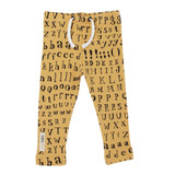 Organic Drawstring Leggings in Honey Letters, Flat