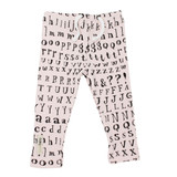 Organic Drawstring Leggings in Blush Letters, Flat