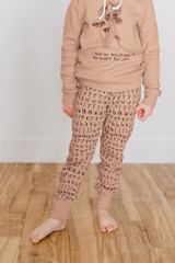 Organic Kids' Jogger Pants in Nutmeg Letters, Lifestyle