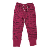 Organic Kids' Jogger Pants in Magenta Letters, Flat