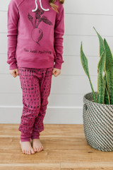 Organic Kids' Jogger Pants in Magenta Letters, Lifestyle