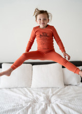 Organic Kids' L/Sleeve PJ Set in Maple Carrot, Lifestyle