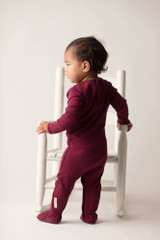 Organic Smocked Overall in Cranberry, Lifestyle