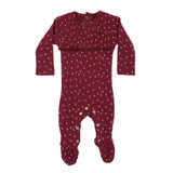 Organic Smocked Overall in Cranberry Dots, Flat