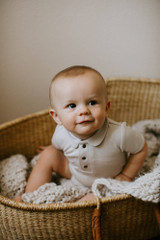 Polo Bodysuit in Light Gray Dots, Lifestyle