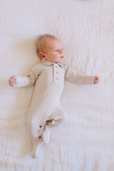 V-Neck Baby Footie in Light Gray, Lifestyle
