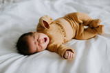 Organic Smocked Baby Footie in Honey Dots, Lifestyle
