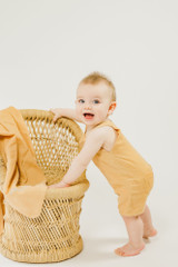 Organic Muslin Overall in Apricot, Lifestyle