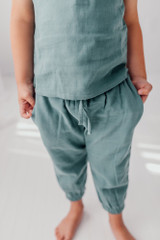 Organic Kids' Muslin Harem Pants in Oasis, Lifestyle