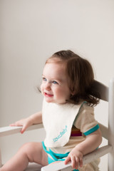Terry Cloth Reversible Bib in Teal, Lifestyle