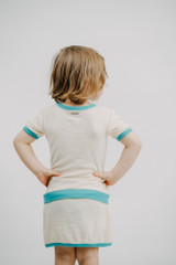 Kid's Terry Cloth Short-Sleeved Shirt in Teal, Lifestyle