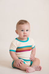 Terry Cloth Short-Sleeved Shirt in Teal, Lifestyle
