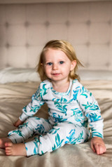 Organic Kids' L/Sleeve PJ Set in Seaweed, Lifestyle