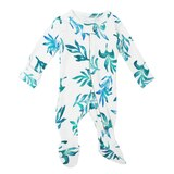 Organic Zipper Baby Footie in Seaweed, Flat