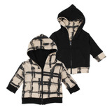 Kids' Reversible Zipper Hoodie in Oatmeal Plaid, Flat