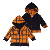 Kids' Reversible Zipper Hoodie in Butternut Plaid, Flat
