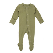 Organic Footed Overall in Sage, Flat