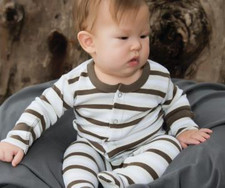 Organic Footed Overall in Bark Stripe, Lifestyle