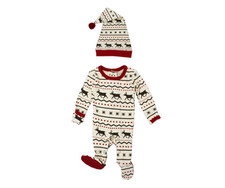Organic Holiday Overall & Cap Set in Fair Isle Reindeer, Flat