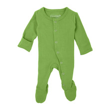 Organic Footed Overall in Moss, Flat