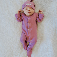 Organic Footed Overall in Grape, Lifestyle