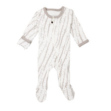 Organic Zipper Footed Overall in Light Gray Willow, Flat