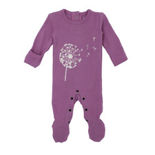 Organic Graphic Footie in Grape Dandelion, Flat
