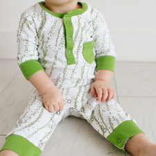 Organic Footless Romper in Moss Willow, Lifestyle