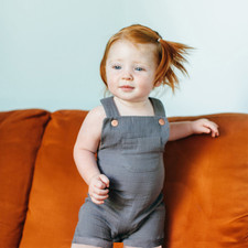 Organic Muslin Overall in Gray, Lifestyle