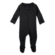 Organic Zipper Footed Overall in Black, Flat