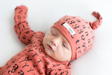 Organic Top-Knot Hat in Maple Letters, Lifestyle
