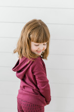Organic Kids' Graphic Hooded Sweatshirt in Cranberry Beet, Lifestyle