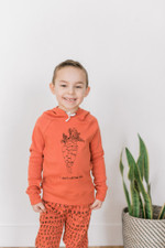 Organic Kids' Graphic Hooded Sweatshirt in Maple Carrot, Lifestyle