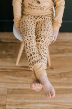Organic Kids' Jogger Pants in Honey Letters, Lifestyle