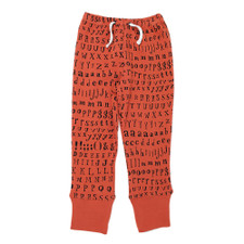 Organic Kids' Jogger Pants in Maple Letters, Flat