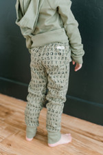 Organic Kids' Jogger Pants in Seafoam Letters, Lifestyle