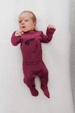 Organic Graphic Footie in Cranberry Beet, Lifestyle