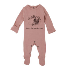 Organic Graphic Footie in Mauve Pomegranate, Flat