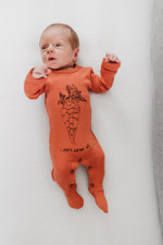 Organic Graphic Footie in Maple Carrot, Lifestyle