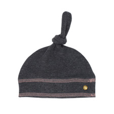 Organic Banded Top-Knot Hat in Dark Heather/Mauve, Flat