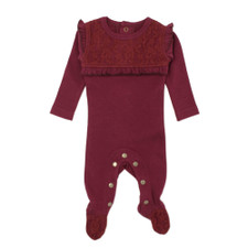 Organic Vintage Overall in Cranberry, Flat
