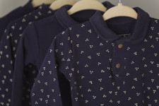 Organic Polo Overall in Navy Dots, Lifestyle