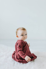 Organic Bubble Dress in Cranberry, Lifestyle