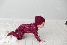 Organic Smocked Ruffle Cap in Cranberry, Lifestyle