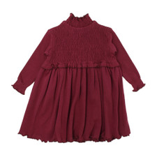 Organic Smocked Dress in Cranberry, Flat