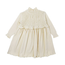 Organic Smocked Dress in Beige, Flat